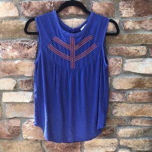 ELODIE by ANTHROPOLOGIE Blue Embroidered Tank